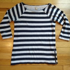 JCrew a8728 striped boat neck zipper side top xs